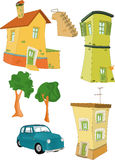 Set small houses trees Stock Photography