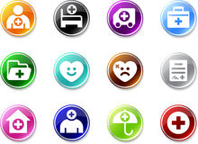 Set a small icons - hospital. Royalty Free Stock Photo