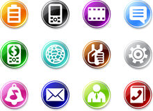 Set of small mobile phone icons. Royalty Free Stock Photography