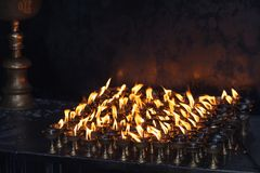 Set of small oil candles - fire gifts stock image