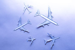 Set of small paper airplanes Royalty Free Stock Photo