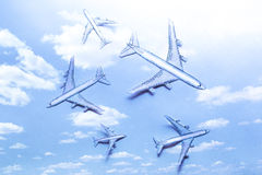 Set of small paper airplanes Royalty Free Stock Image