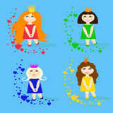 Set of small princesses with hearts stock illustration