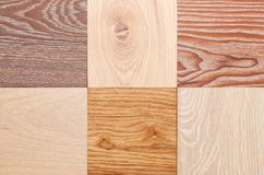 Set of small samples of wooden parquet for the designer. stock images