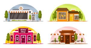 Set of small shops royalty free stock images