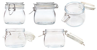 Set of small Swingtop Bale glass jar on white Royalty Free Stock Photos