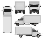 Set small white truck. Car delivery service. Delivery of goods and products to retail outlets. 3d rendering. Stock Photo