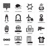 Set of Smart clothing, Smartphone, Hoverboard, Wi gloves, Eolic energy, Robot, Graphene, Solar panel icons. Set Of 16 simple  icons such as Smart clothing Royalty Free Stock Images