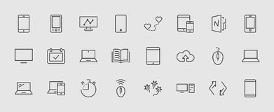 Set of smart devices and gadgets, computer equipment and electronics. Electronic devices icons for web and mobile vector. Line icon. Editable move. 32x32 pixels vector illustration