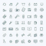 Set of smart devices and gadgets, computer equipment and electronics Royalty Free Stock Images