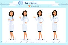 Set of smart doctor presenting in various action, isolated on white.Flat cartoon style.Hospital medical team.People character. Set in various poses.woman stock illustration