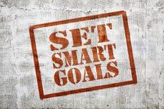 Set smart goals graffiti on stucco wall Royalty Free Stock Photos