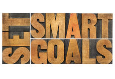 Set smart goals in wood type Stock Images