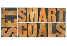 Set smart goals in wood type Stock Images