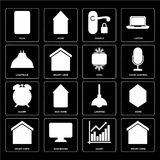 Set of Smart home, Chart, Lighting, Alarm, Cool, Lightbulb, Hand. Set Of 16 icons such as Smart home, Chart, Dashboard, Home, Plug, Lightbulb, Alarm, Cool, web stock illustration