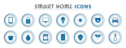 Set of smart home line icons, wireless temperature and light control, air conditioning, security. stock illustration