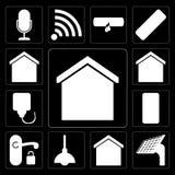 Set of Smart home, Panel, Lighting, Handle, Mobile, Plug, editable icon pack. Set Of 13 simple editable icons such as Smart home, Panel, Lighting, Handle, Mobile royalty free illustration