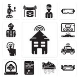 Set of Smart house, Ar glasses, Flying shoes, Audio file, Tree, Car, Tap, Hologram, Robot icons. Set Of 13 simple editable icons such as Smart house, Ar glasses Royalty Free Stock Photography