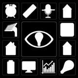 Set of Smart, Light, Chart, Dashboard, Battery, Smart home, Home vector illustration