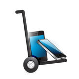Set of smart phones on a dolly. Royalty Free Stock Photo