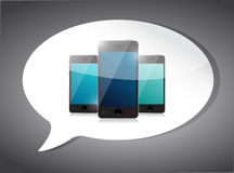 Set of smart phones on a speech bubble. Stock Image