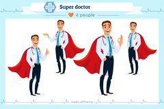 Set of smart super doctor presenting in various action, isolated on white background. Different gestures. Flat cartoon style. stock illustration