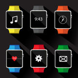 Set of smart watch icon. vector illustration.  Royalty Free Stock Photos