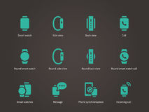 Set of smart watch with smart interface icons set. Royalty Free Stock Photos