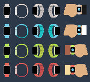 Set of smart watches new. Technology device with apps icons. Flat design vector illustration Royalty Free Stock Image