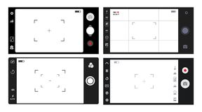 Set of smartphone camera viewfinder. Template focusing screen of the camera. Classic viewfinder camera recording. Video screen vec. Set of smartphone camera Royalty Free Stock Photo