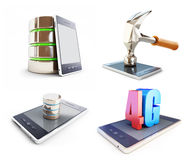 Set smartphone , different activities. on a white background. 3D illustration Stock Images