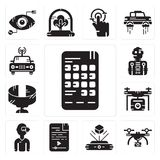 Set of Smartphone, Drone, Hologram, Audio file, Vr glasses, Panoramic view, Robot, Car icons. Set Of 13 simple  icons such as Smartphone, Drone, Hologram, Audio Stock Photography
