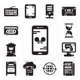Set of Smartphone, Newspaper, Earth grid, File transfer, Mailbox, Video call, Hourglass, Vhs icons. Set Of 13 simple editable icons such as Smartphone, Newspaper Royalty Free Stock Photography
