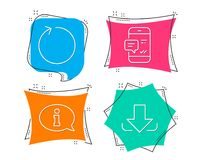 Smartphone notification, Loop and Information icons. Download sign. Chat message, Refresh, Info center. Set of Smartphone notification, Loop and Information Stock Photos