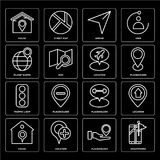 Set of Smartphone, Placeholder, House, Traffic light, Location, Planet earth, Arrow, House icons. Set Of 16 icons such as Smartphone, Placeholder, Location Stock Image