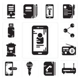 Set of Smartphone, Router, Phone book, Microphone, Radio, Mailbox, Share, Pendrive icons. Set Of 13 simple editable icons such as Smartphone, Router, Phone book Stock Photos