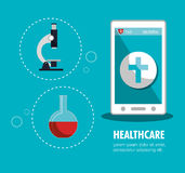 set smartphone services medical isolated Stock Image