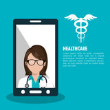 set smartphone services medical isolated Stock Photos