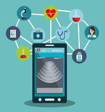 set smartphone services medical isolated Stock Images