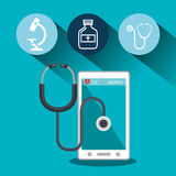 set smartphone services medical isolated Royalty Free Stock Photos