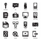 Set of Smartphone, Video player, Speaker, Server, Diskette, Display, Agenda, Pendrive, Microphone icons. Set Of 16 simple  icons such as Smartphone, Video player Stock Images