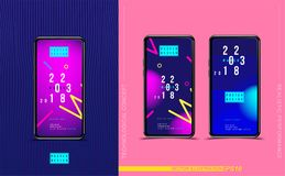 Set smartphones with abstract creative design poster with fluid and colorful gradient. Template futuristic cover. Flat vector illu. Stration EPS 10 Royalty Free Stock Photography