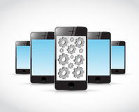 Set of smartphones and gears illustration Royalty Free Stock Photo