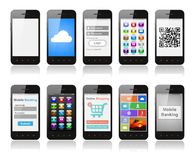 Set of smartphones with interface designs showing different func royalty free stock image