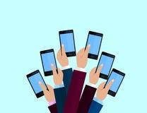 Set of smartphones. Journalism concept, Mass Media, TV, Interview, Breaking News, press conference concept. smartphones. in report. Er hands. Vector Flat design royalty free illustration