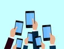 Set of smartphones. Journalism concept, Mass Media, TV, Interview, Breaking News, press conference concept. smartphones. in report. Er hands. Vector Flat design stock illustration