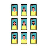 Set of smartphones with stream and live chat. Vector illustration. stock illustration