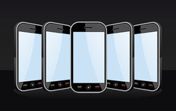 Set of Smartphones templates on black Stock Photography