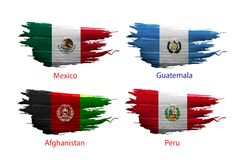 Set smear paint of flag on white background. Set smear paint of flag country on white background Stock Photos