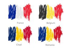 Set of smear painted flags of different countries Royalty Free Stock Photo